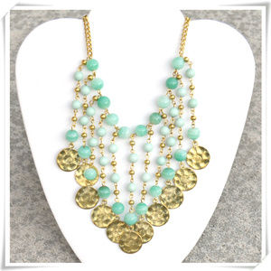 Coins and  beads bib boho statement necklace